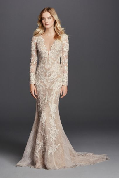 Long Sleeve Sheath With Illusion V Neckline David S Bridal
