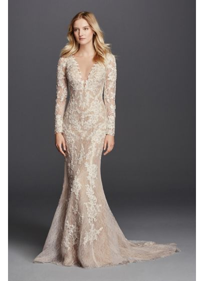 Long Sleeve Sheath with Illusion V-Neckline | David\'s Bridal