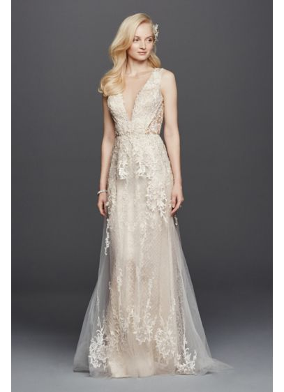 Tulle a line wedding dress with plunging v neck davids for Wedding dresses for large breasts