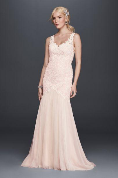 Beaded Venice Lace Trumpet Wedding Dress - Davids Bridal