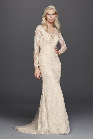 Lace Long Sleeve Illusion VNeck Wedding Dress Davids Bridal
