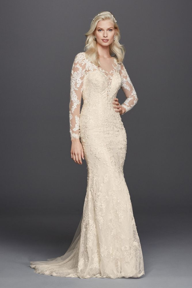 Lace long sleeve illusion v neck wedding dress style for Long straight wedding dresses