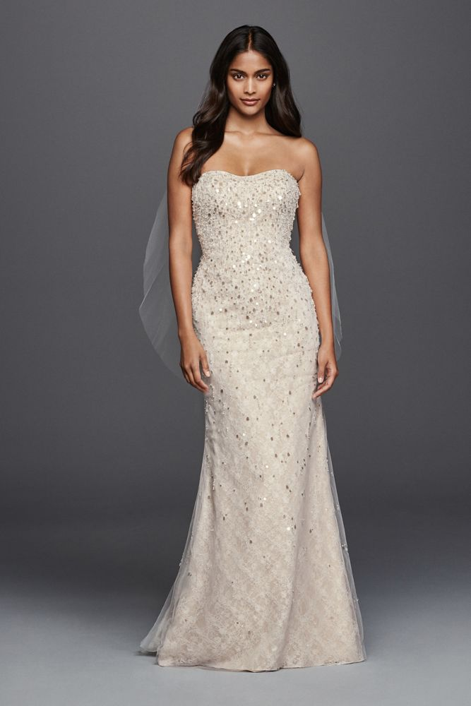 Beaded fringe bodice lace sheath wedding dress style for Sheath style wedding dress