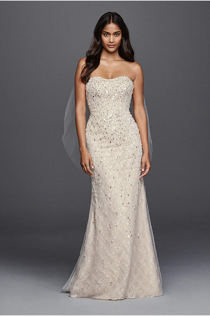 Beaded Fringe Bodice Lace Sheath Wedding Dress - More than 12,000 beads and teardrop-shaped paillettes chicly