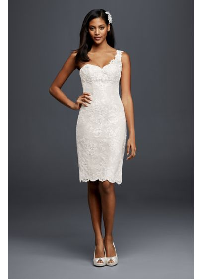 Short Sheath Beach Wedding Dress - Galina Signature