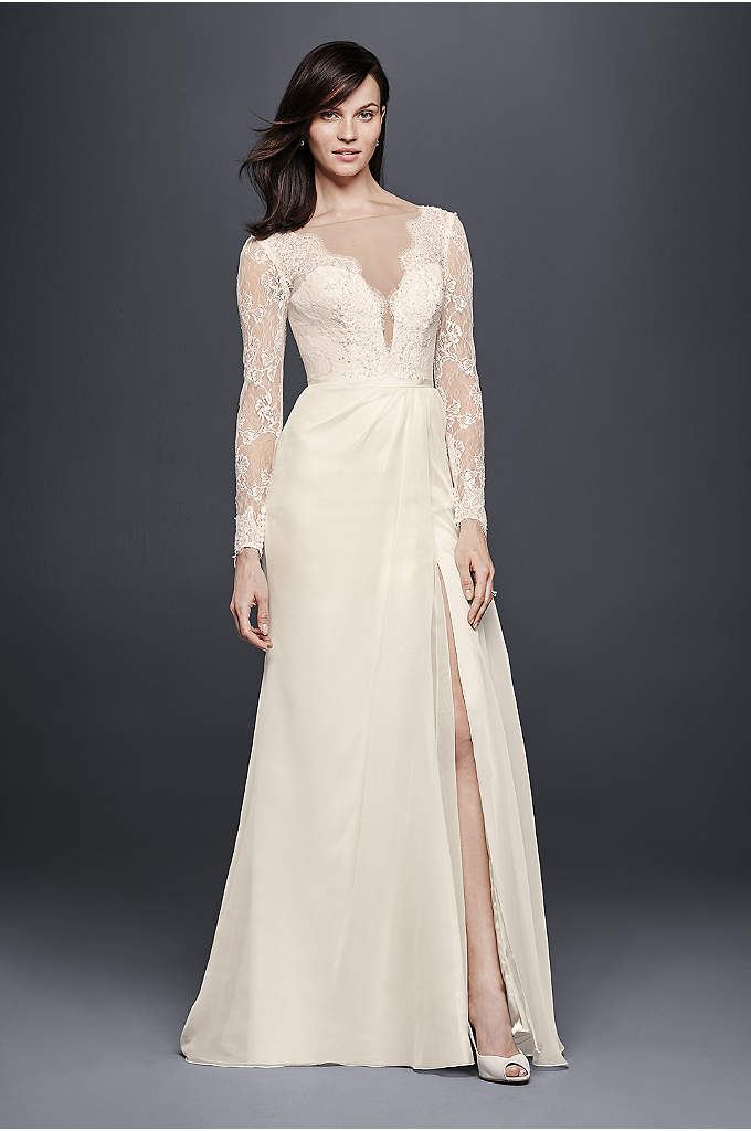 Chiffon Wedding Dress with Low V-Neck and Back - Even with long lace sleeves, this chiffon wedding
