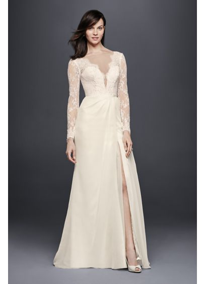 Chiffon wedding dress with low v neck and back davids bridal for Low back wedding dresses for sale
