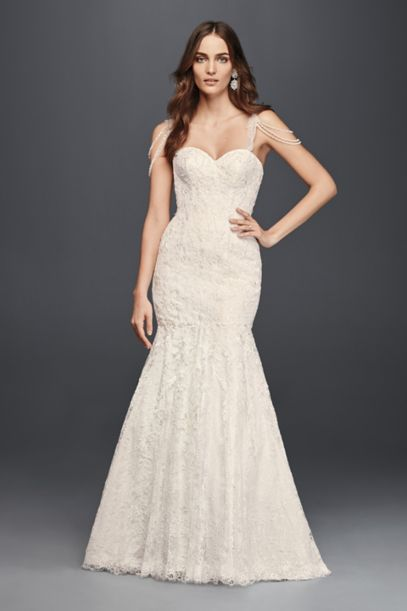 Lace Mermaid Dress with Swag Straps - Davids Bridal