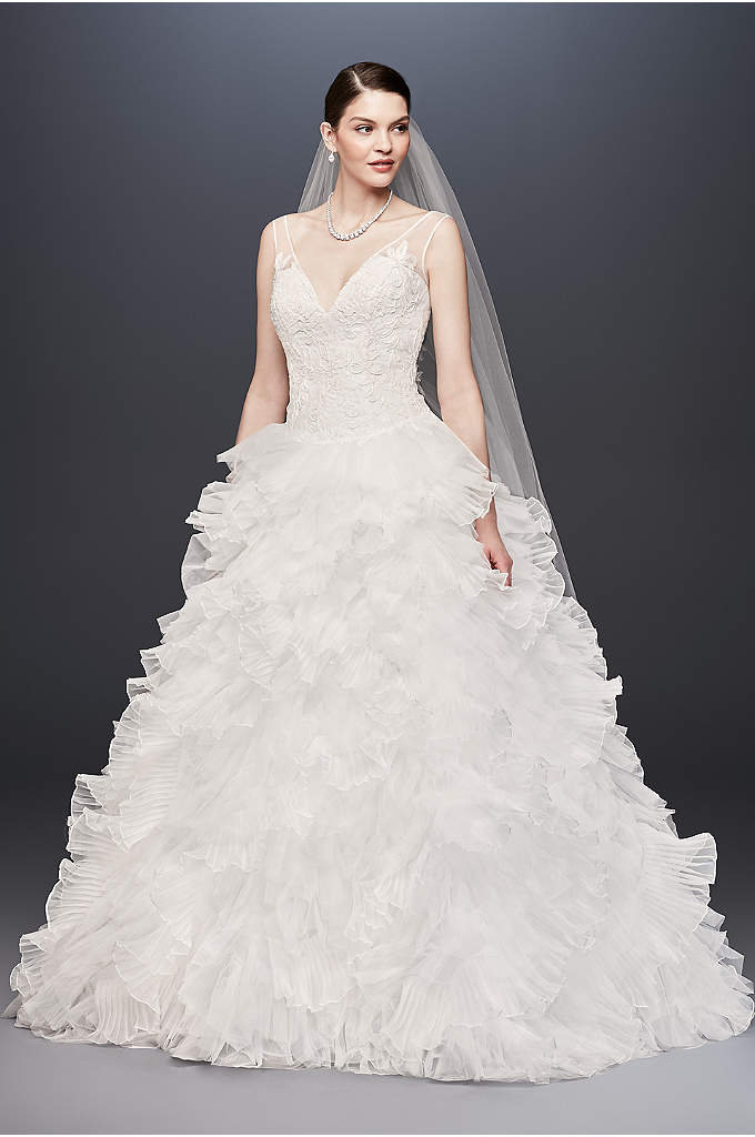 Plunging V-Neck Wedding Gown with Tiered Skirt - Imagine the entrance you'll make in this dramatic