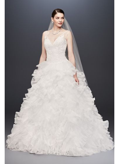 Plunging v neck wedding gown with tiered skirt david 39 s for Plunge neck wedding dress