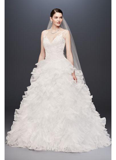 Plunging v neck wedding gown with tiered skirt davids bridal long ballgown formal wedding dress galina signature junglespirit Gallery