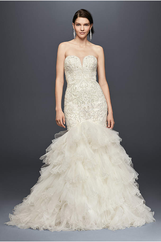 Beaded Mermaid Wedding Dress with Tulle Skirt - An illusion panel subtly spans the plunging sweetheart