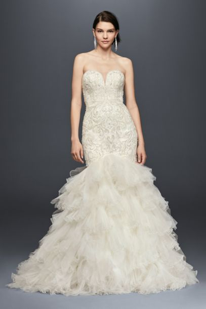 Beaded Mermaid Wedding Dress with Tulle Skirt - Davids Bridal