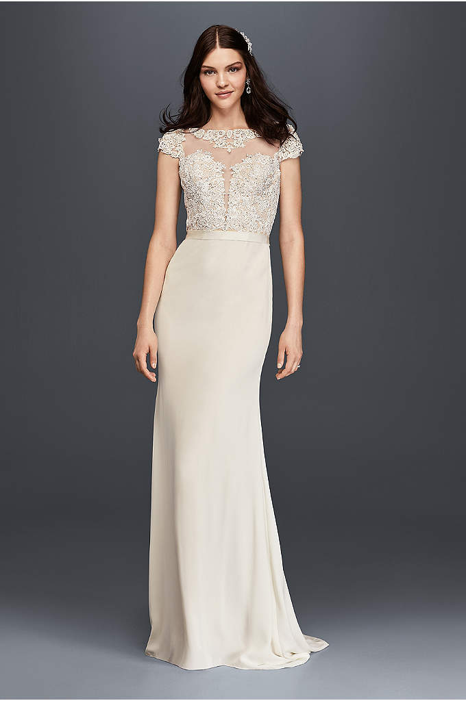 Cap Sleeve Crepe Wedding Dress with Plunge Bodice - The picture of modern elegance, this gown features