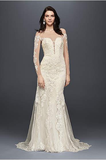 Galina Signature Long Sleeve Illusion Lace Wedding Dress
