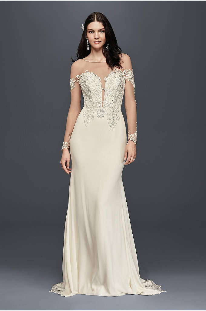 Crepe Wedding Dress with Lace Inset Train - The appliqued illusion sleeves of this crepe wedding