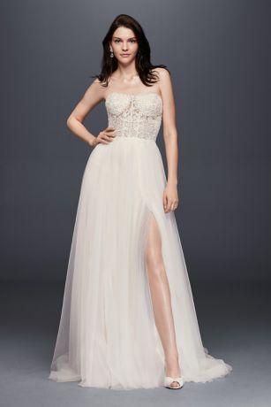 Strapless Wedding Dress with Tulle Slit Skirt Davids Bridal