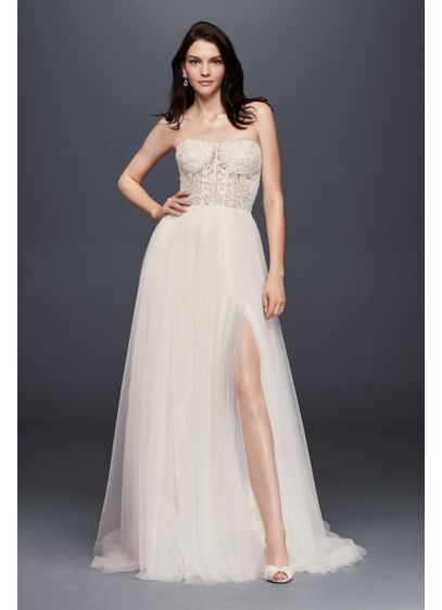 Strapless wedding dress with tulle slit skirt david 39 s bridal for Tulle skirt wedding dresses