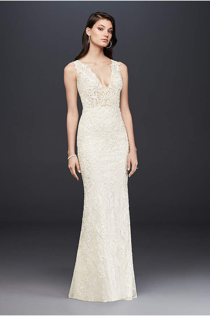 Plunging Illusion Bodice Lace Wedding Dress - Intricately adorned in beautiful beaded lace, the plunging