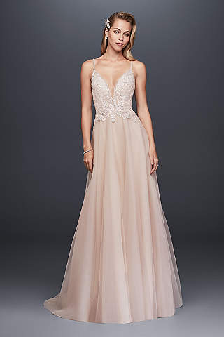 Light pink blush wedding dresses davids bridal long a line glamorous wedding dress galina signature junglespirit Image collections