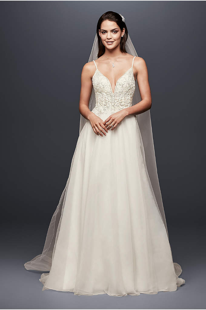 Sheer Beaded Bodice Organza A-Line Wedding Dress