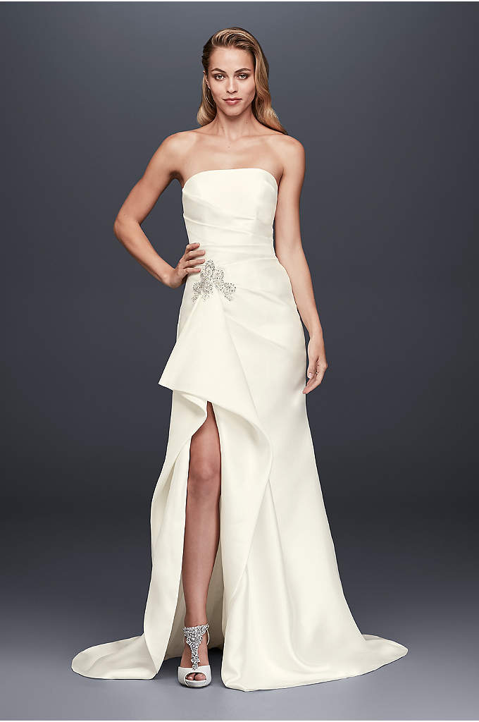 Mikado Sheath Wedding Dress with Slit Skirt - So stunning! This mikado sheath wedding gown is