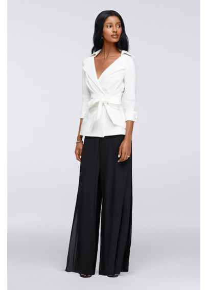 Two-Piece Wrap Blouse with Wide-Leg Pants SWKO447