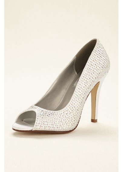Dyeable Crystal Embellished Peep Toe Pump Sienna