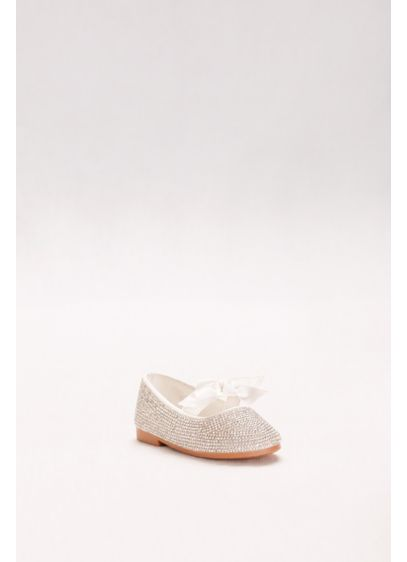 Blossom White (Toddlers Crystal Ballet Flats with Ribbon Bow)