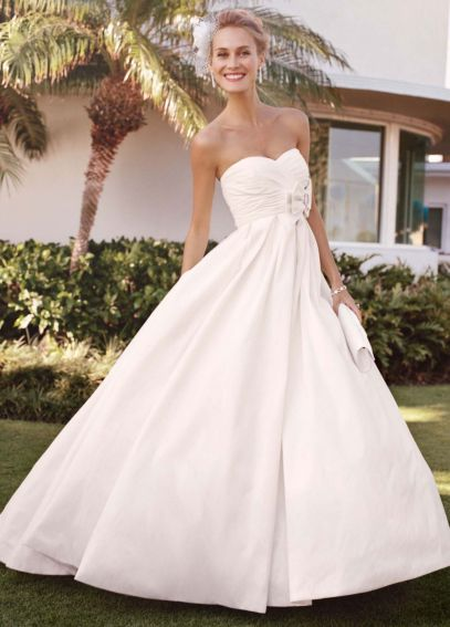 Strapless Shantung Taffeta Sweetheart Ball Gown T3039
