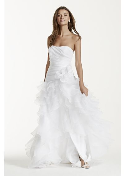 Strapless Taffeta High Low Ruffled Wedding Dress T3505