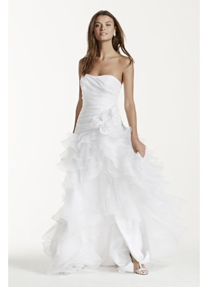 Strapless taffeta high low ruffled wedding dress davids for High low wedding dresses for sale