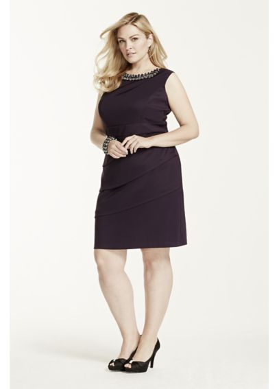 Sleeveless Twill Dress with Beaded Neckline T7813245L1