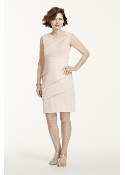 Twill Sleeveless Dress with Pearl Neckline T7813822M1