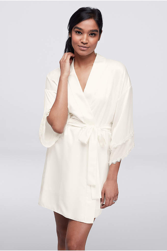 Flora by Flora Nikrooz Vivian Robe - A classic honeymoon cover-up, this flowing crepe robe