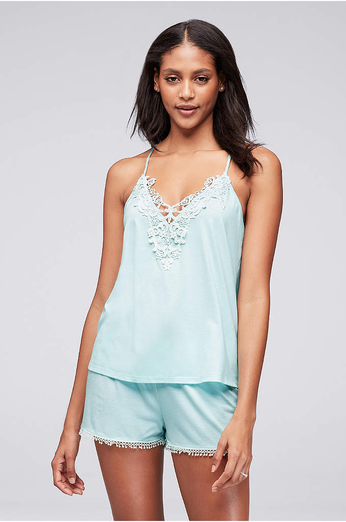 Flora by Flora Nikrooz Blake Set - A slinky crochet-trimmed jersey cami and matching tap