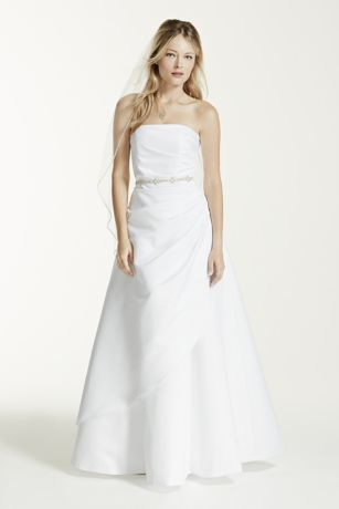 Satin A-line Wedding Dress with Asymmetrical Skirt - Satin A-line gown with side-draped bodice and asymmetric