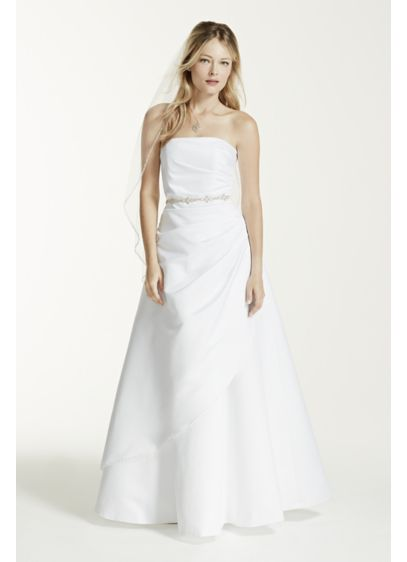 Satin a line wedding dress with asymmetrical skirt david for Satin a line wedding dress