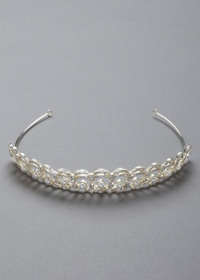 Crystal and Pearl Accented Tiara  T8100