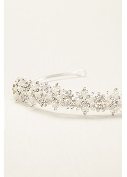 Floral Crystal and Pearl Tiara T8134