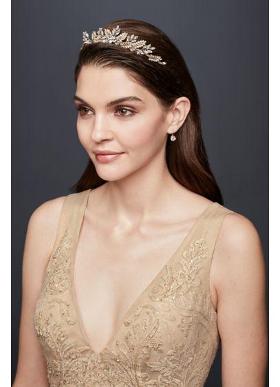 Handwired Gilded Sprigs Crystal Tiara - Wedding Accessories