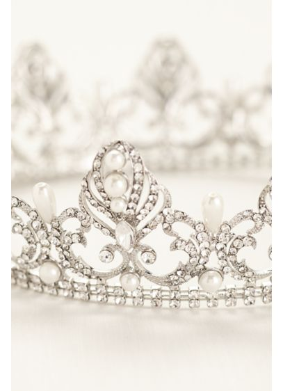 Pearl and Crystal Encrusted Crown - Wedding Accessories