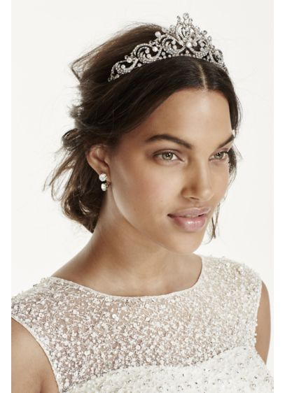 Filigree Rhinestone Tiara - Wedding Accessories