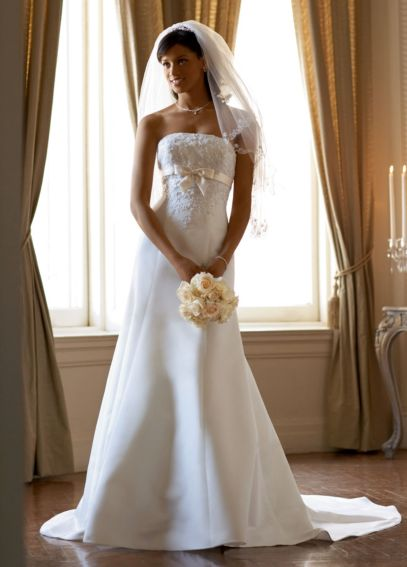 Satin Trumpet Gown with Beaded Metallic Lace  T9395