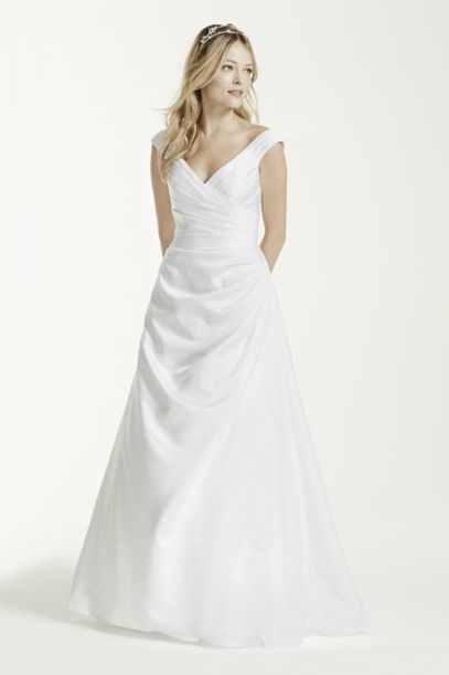 Off the shoulder Wedding Dress with Side Draping Davids Bridal