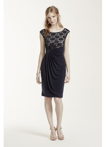 Short Cap Sleeve Jersey Dress with Lace Bodice TC391208M1