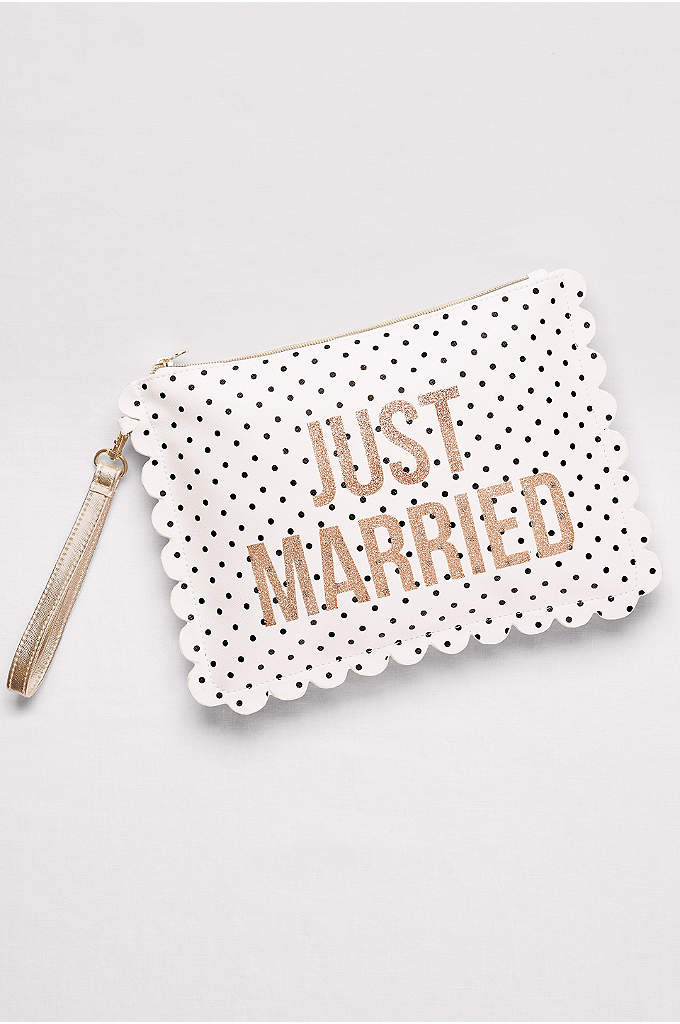 Just Married Pouch with Wrist Strap - This polka-dotted pouch perfectly combines room for all