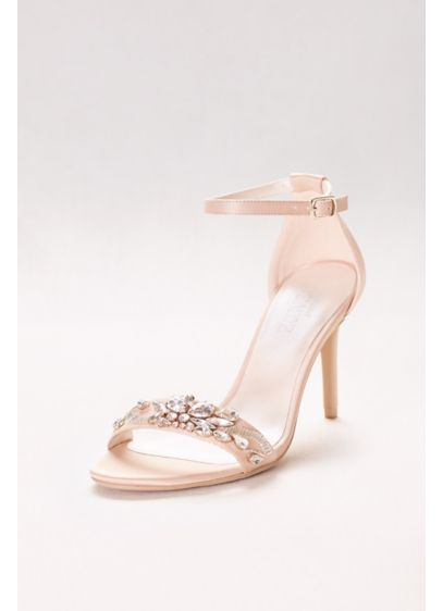 Jeweled strappy heels david 39 s bridal for Heels for wedding dress