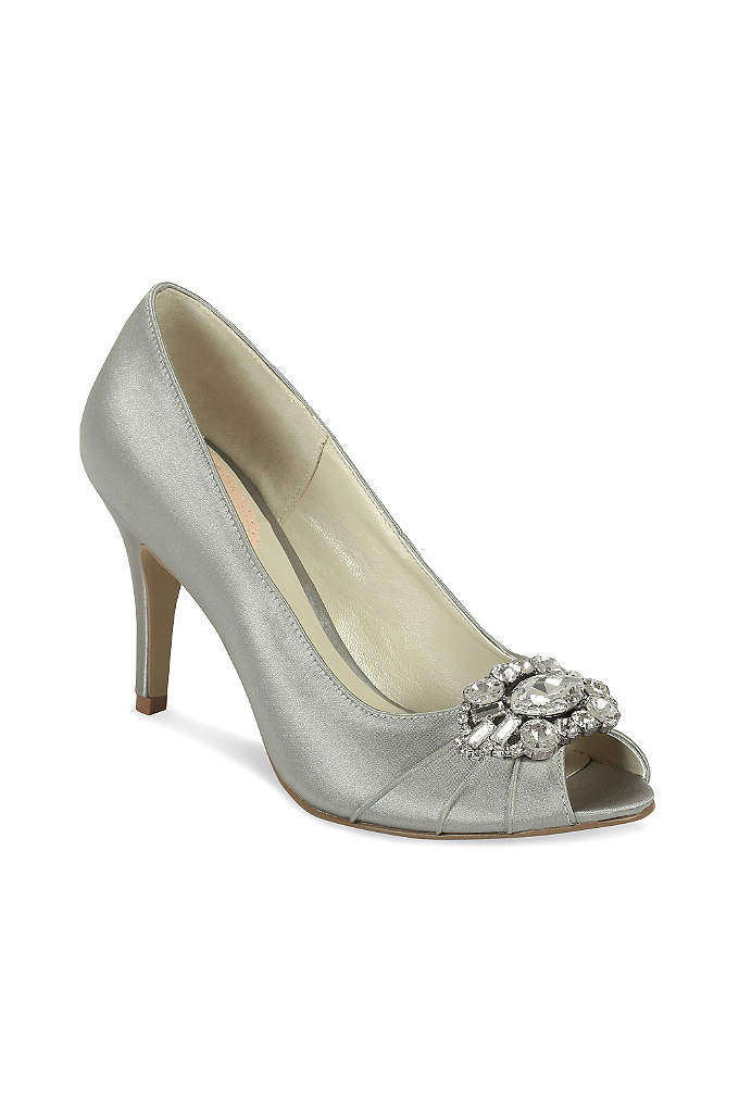 Satin Peep Toe Heels with Ornate Crystal Detail - A crystal detail at the toe gives these