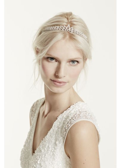 Crystal Accented Leaf Tiara TH6643